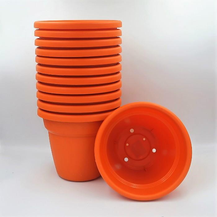 Vaso plastico - vicenza - laranja - 16 x 19 cm - kit 12 unid