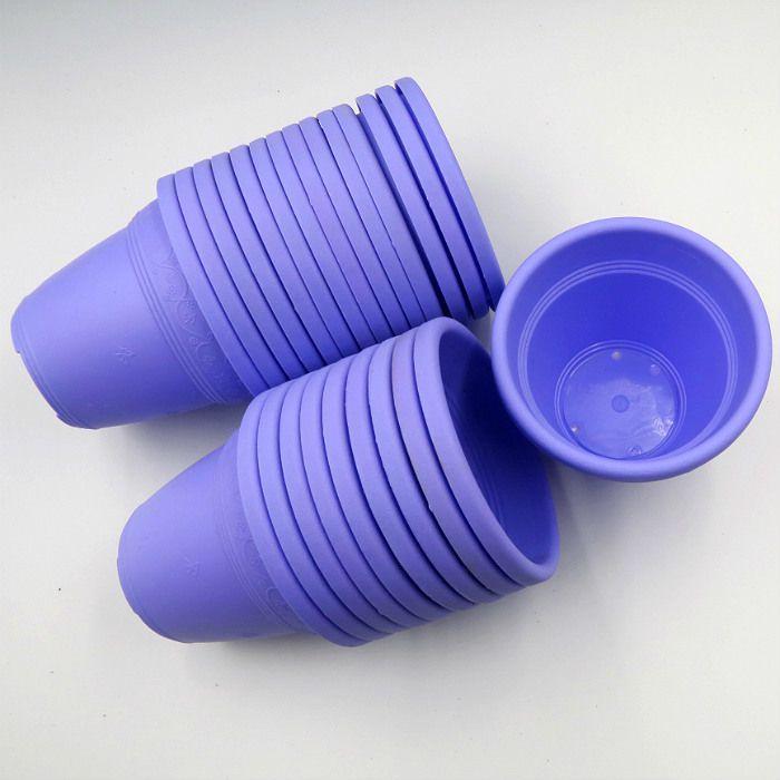 Vaso plástico - vicenza - lilas - 08 x 10 cm - kit 24 unid