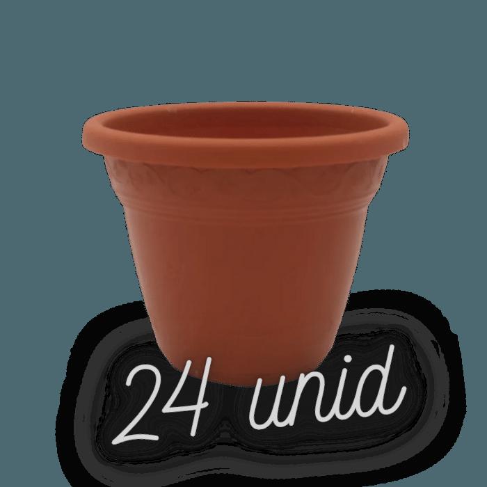 Vaso plástico  - vicenza - marrom - 08 x 10 cm - Kit 24 unid
