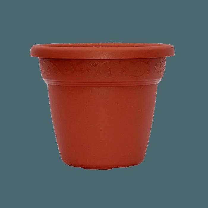 Vaso plastico - vicenza - marrom - 16 x 19 cm - kit 03 unid