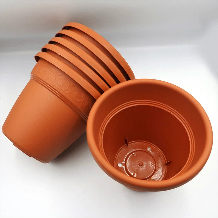 Vaso plastico - vicenza - marrom - 16 x 19 cm - kit 06 unid