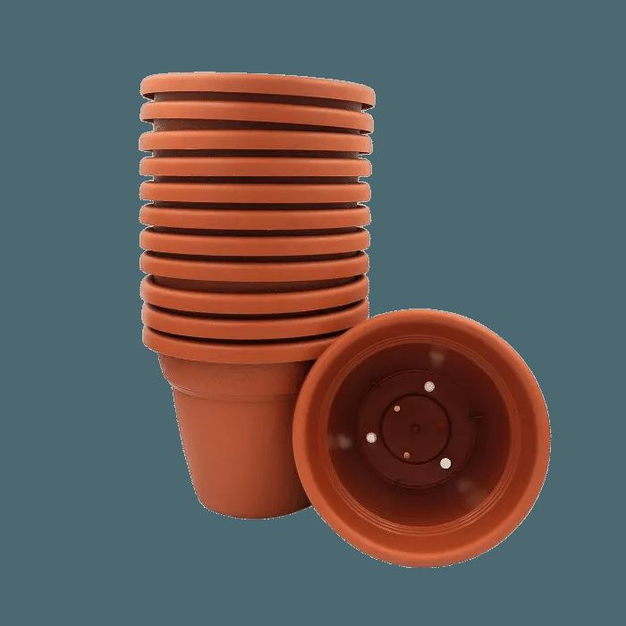 Vaso plastico - vicenza - marrom - 16 x 19 cm - kit 12 unid