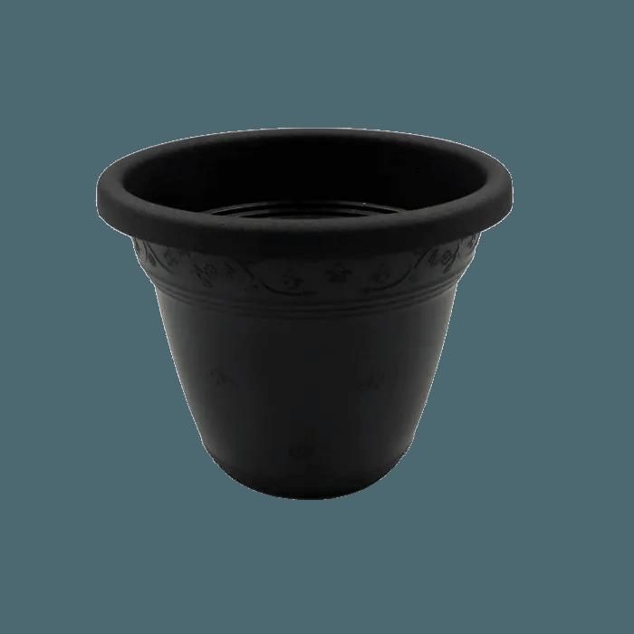 Vaso plástico - vicenza - preto - 08 x 10 cm - kit 10 unid