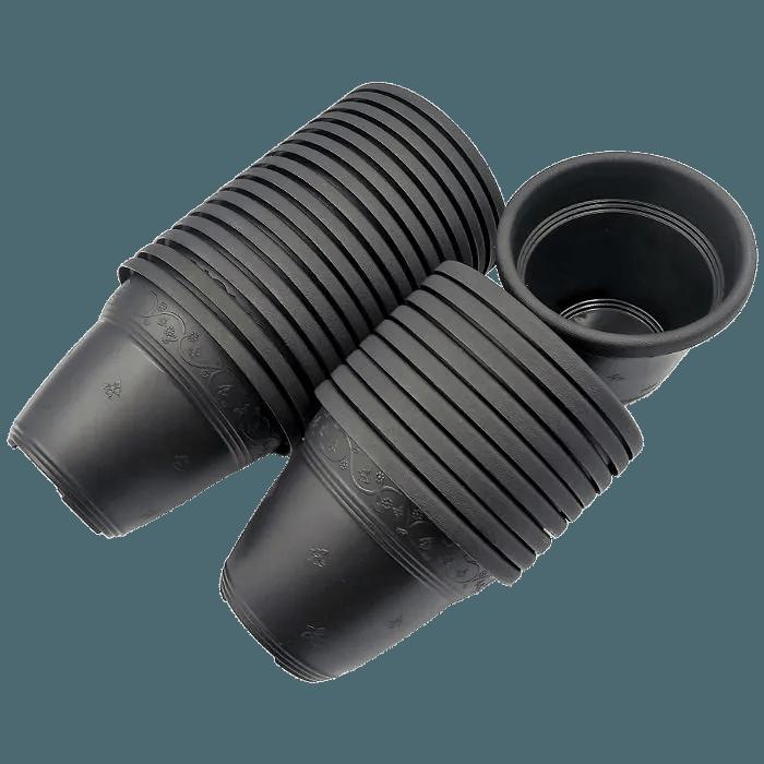 Vaso plástico - vicenza - preto - 08 x 10 cm - Kit 24 unid