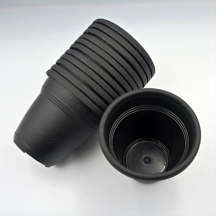 Vaso plastico - vicenza - preto - 10 x 13 cm - kit 10 unid