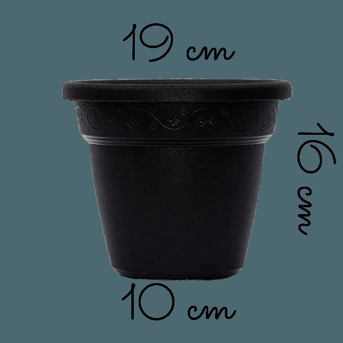 Vaso plastico - vicenza - preto - 16 x 19 cm - kit 03 unid