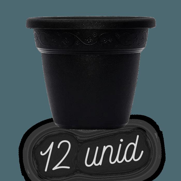 Vaso plastico - vicenza - preto - 16 x 19 cm - kit 12 unid