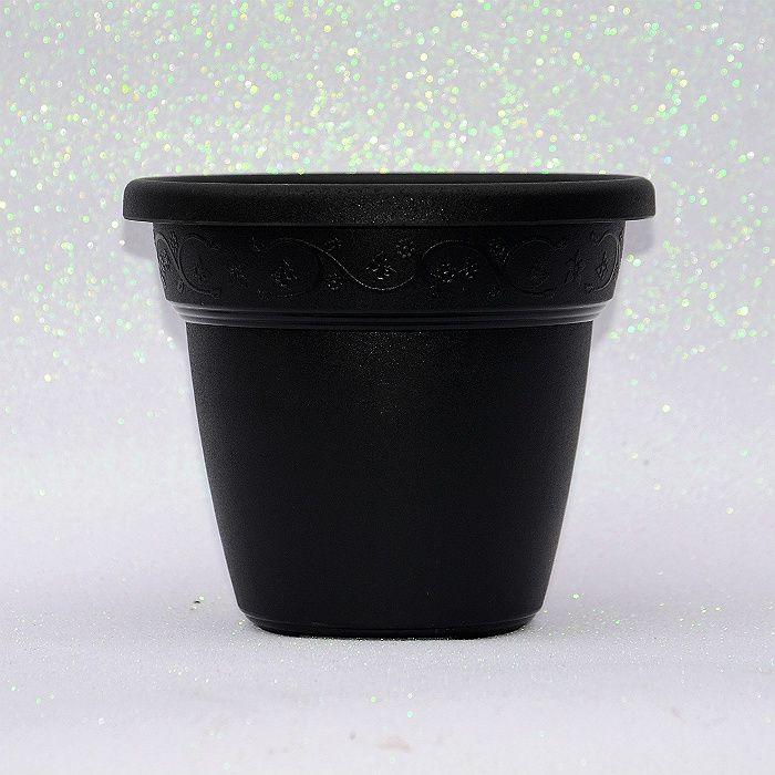 Vaso plastico - vicenza - preto - 16 x 19 cm
