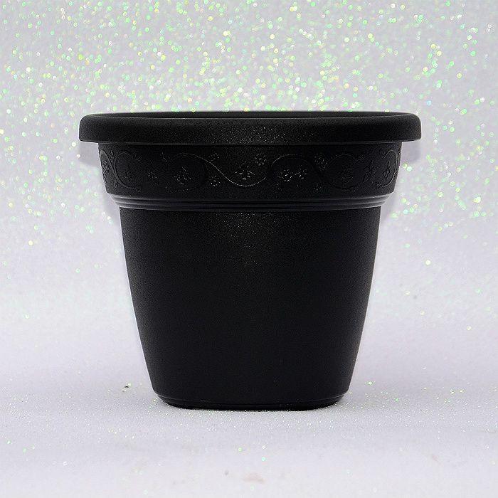 Vaso plastico - vicenza - preto - 19 cm  - kit 05 un