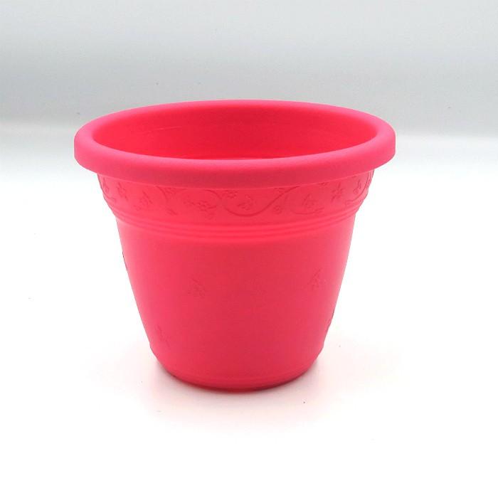 Vaso plastico - vicenza - rosa - 10 x 13 cm - kit 24 unid