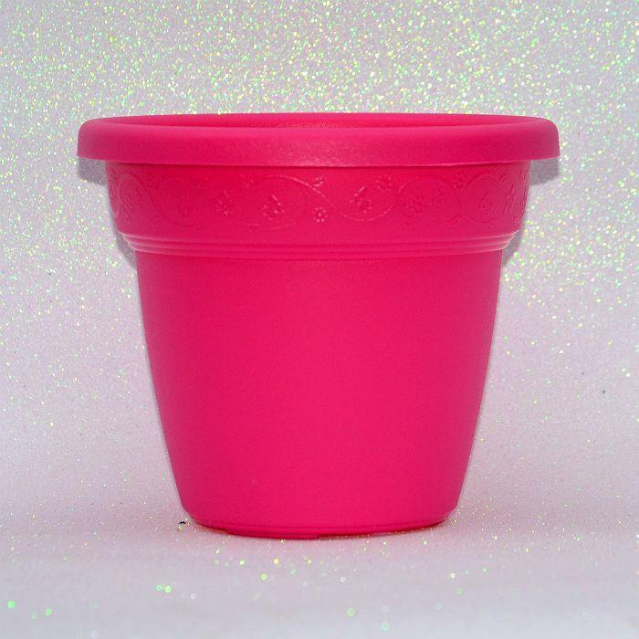 Vaso plastico - vicenza - rosa - 19 cm - kit 05 un