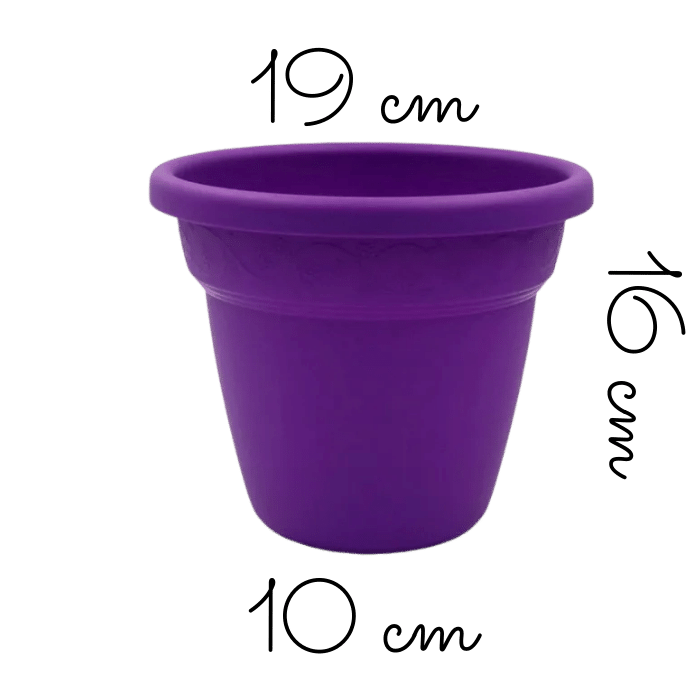 Vaso plastico - vicenza - roxo - 16 x 19 cm - kit 06 unid