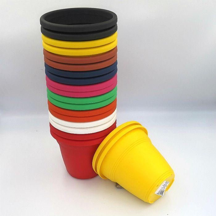 Vaso plástico - vicenza - sortido - 13 cm - Kit 20 un