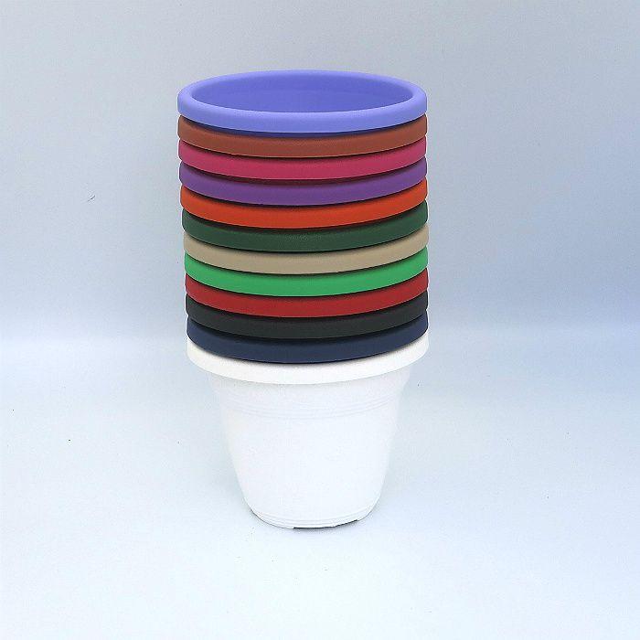 Vaso plástico - vicenza - coloridos - 10 cm - kit 10 unid
