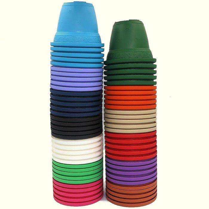 Vaso plástico - vicenza - sortidos - 10 cm - kit 60 un