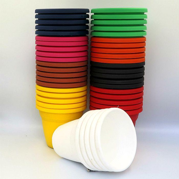 Vaso plástico - vicenza - sortidos - 13 cm - kit 40 un