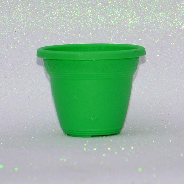 Vaso plástico - vicenza - verde claro - 10 cm - kit 10 un