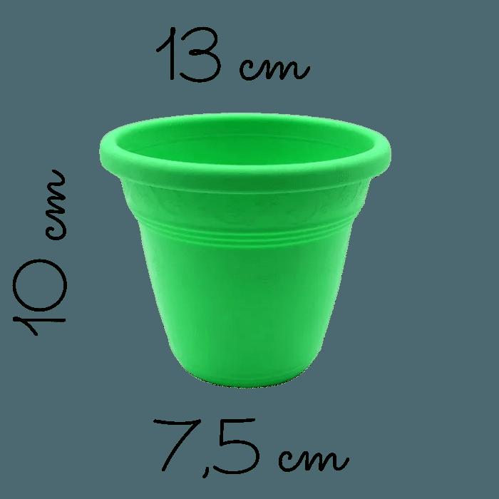 Vaso plastico - vicenza - verde - 10 x 13 cm - kit 10 unid