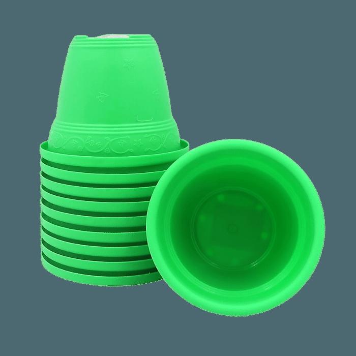 Vaso plástico - vicenza - verde claro - 08 x 10 cm - kit 10 unid