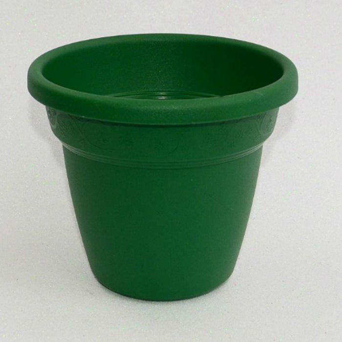 Vaso plastico - vicenza - verde escuro - 16 x 19 cm - kit 03 unid