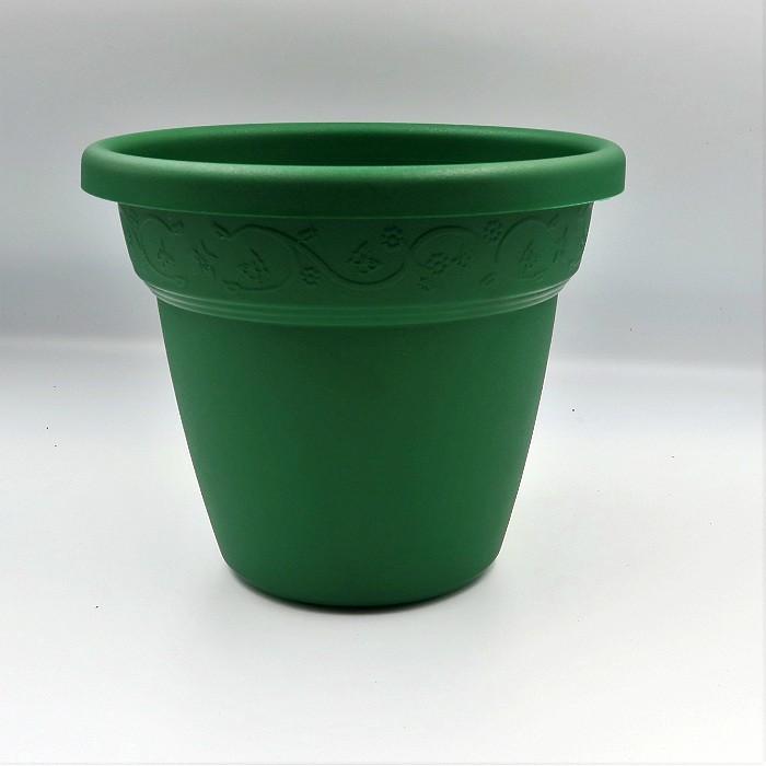 Vaso plastico - vicenza - verde escuro - 16 x 19 cm - kit 06 unid