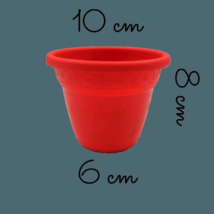 Vaso plástico - vicenza - vermelho - 08 x 10 cm - kit 24 unid