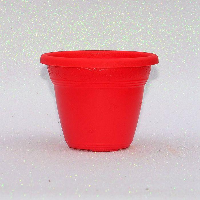 Vaso plástico - vicenza - vermelho - 10 cm