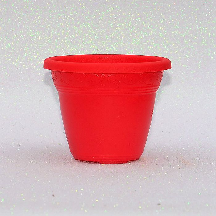 Vaso plástico - vicenza - vermelho - 10 cm - kit 10 un