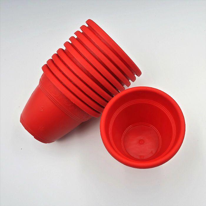 Vaso plástico - vicenza - vermelho - 08 x 10 cm - kit 10 unid