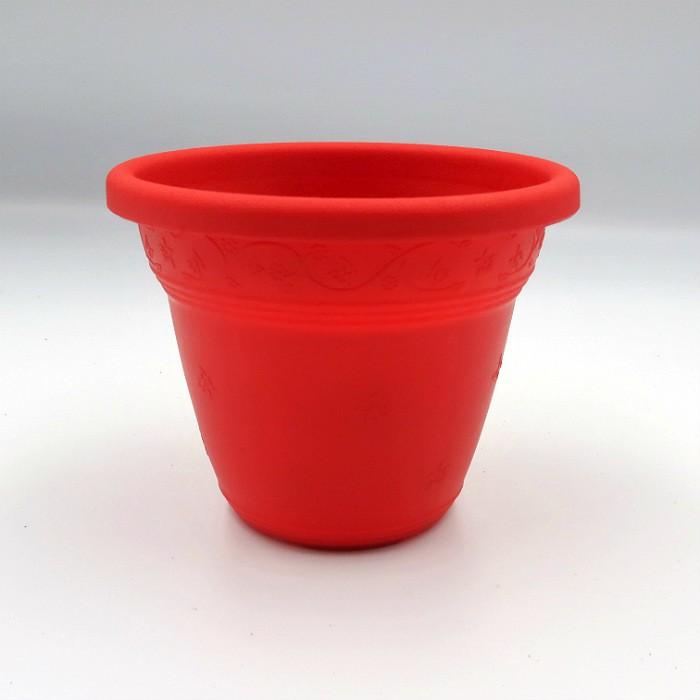 Vaso plástico - vicenza - vermelho - 10 x 13 cm