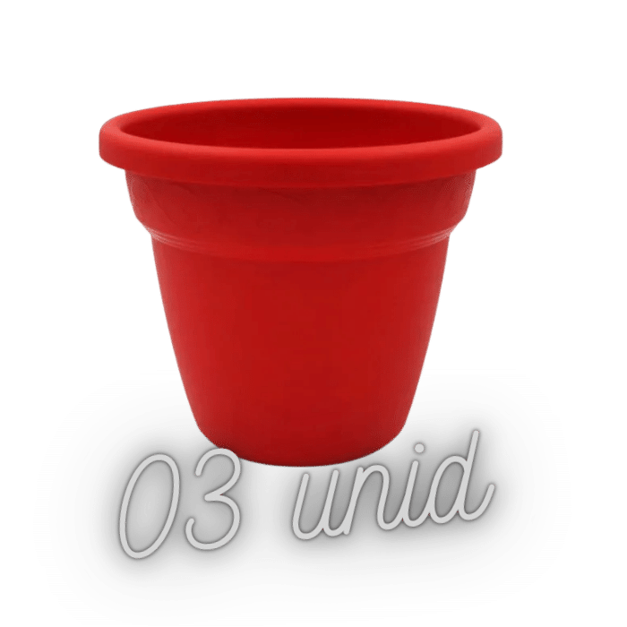 Vaso plastico - vicenza - vermelho - 16 x 19 cm - kit 03 unid