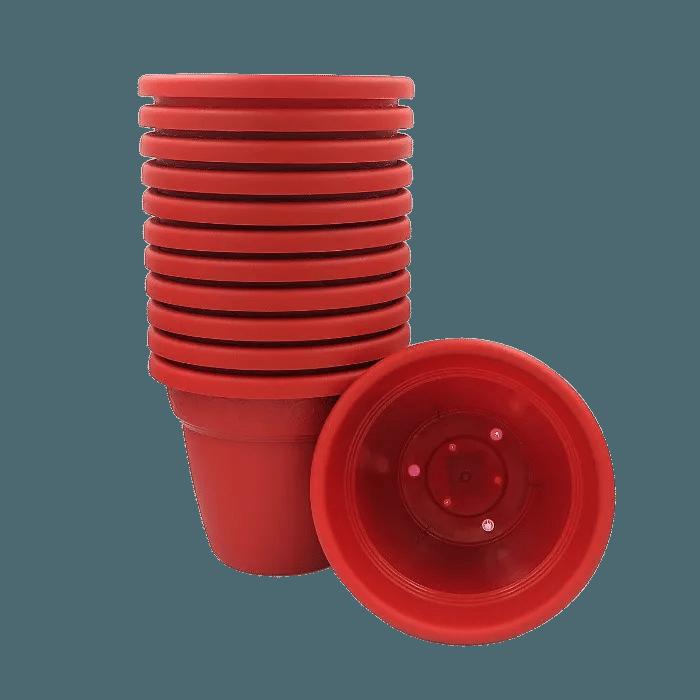 Vaso plastico - vicenza - vermelho - 16 x 19 cm - kit 12 unid
