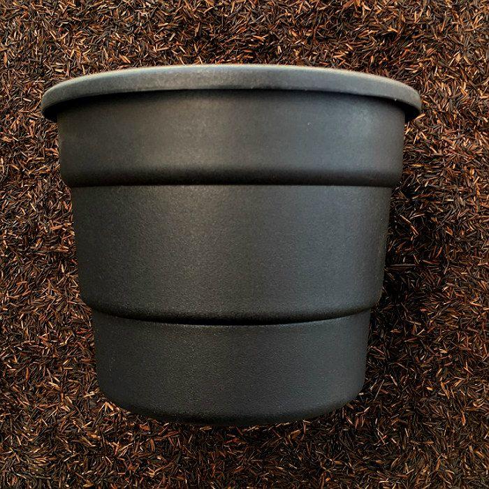 Vaso redondo preto modelo roma 19 cm