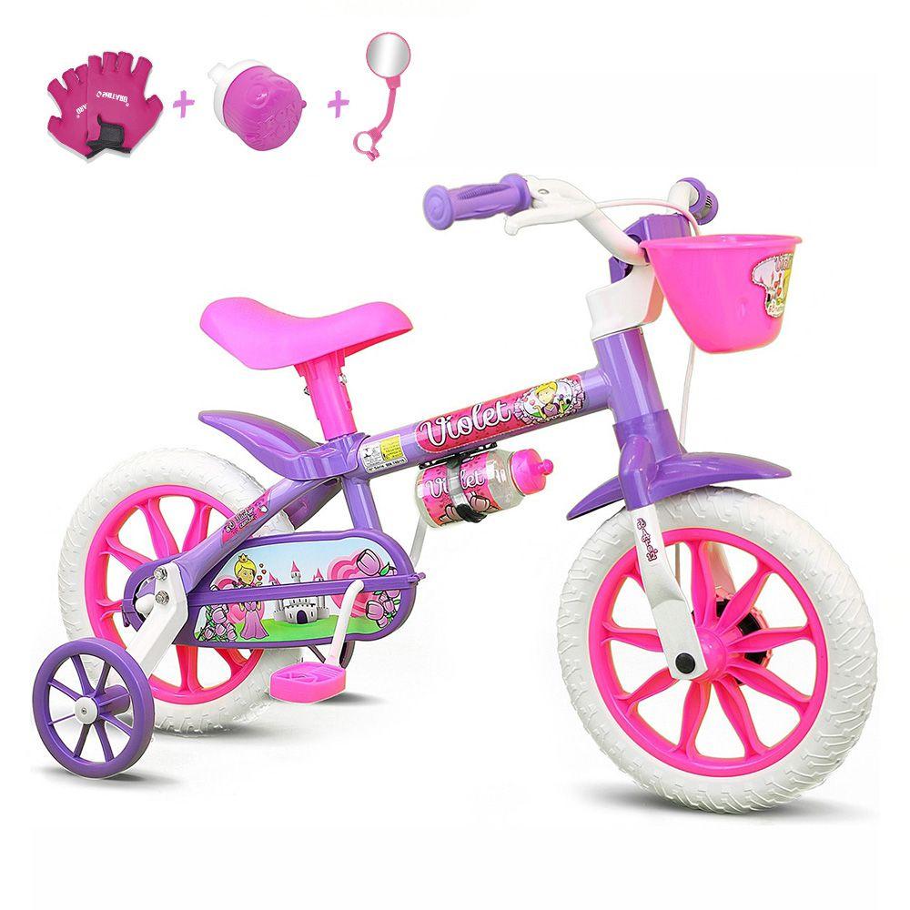 4f81f2247 Bicicleta Infantil Aro 12 Nathor Violet Com Acessórios - Bicicletas ...