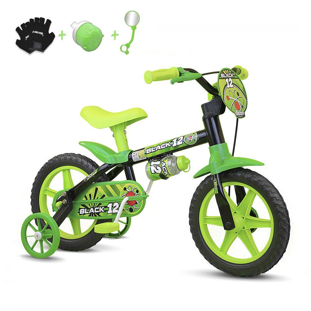 919908166 Bicicleta Infantil Aro 12 Nathor Black C  Acessórios - Bicicletas de ...