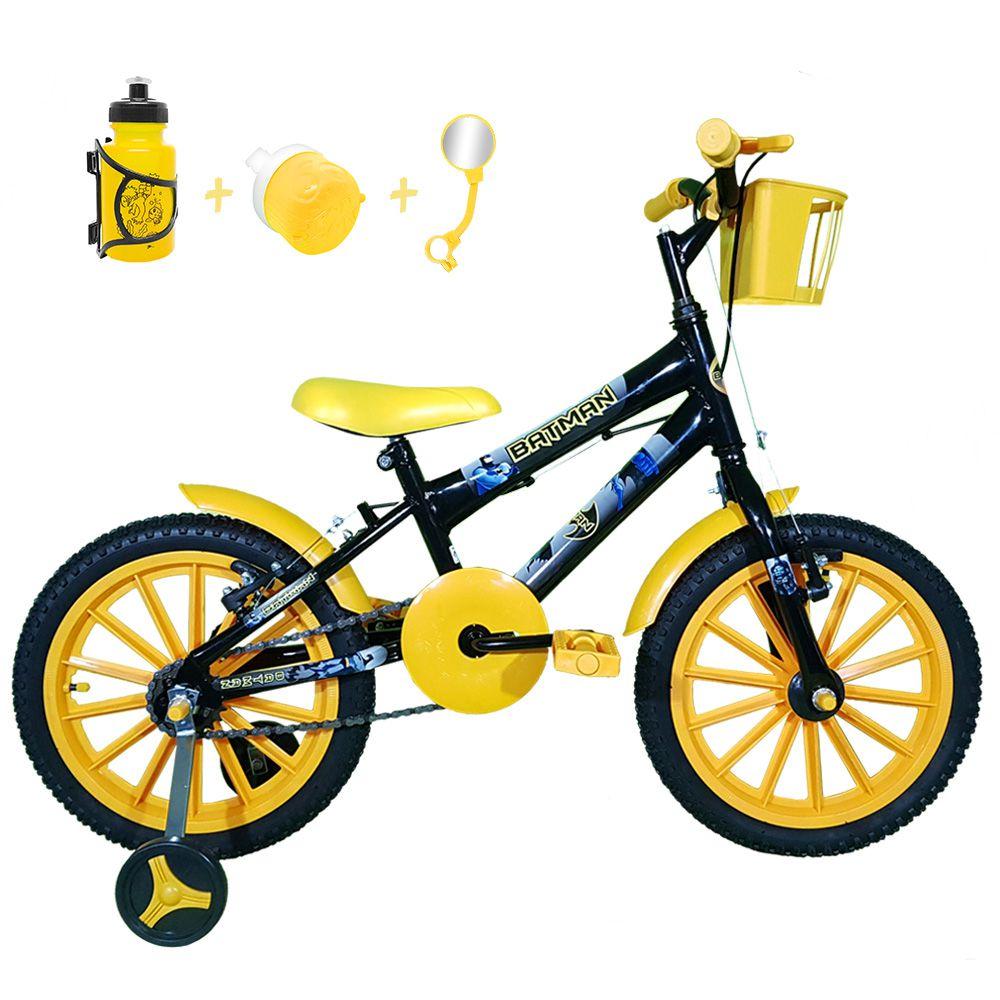 b71a97398 FOTOS. Bicicleta Infantil Aro 16 Preta Kit Amarelo C  Acessórios