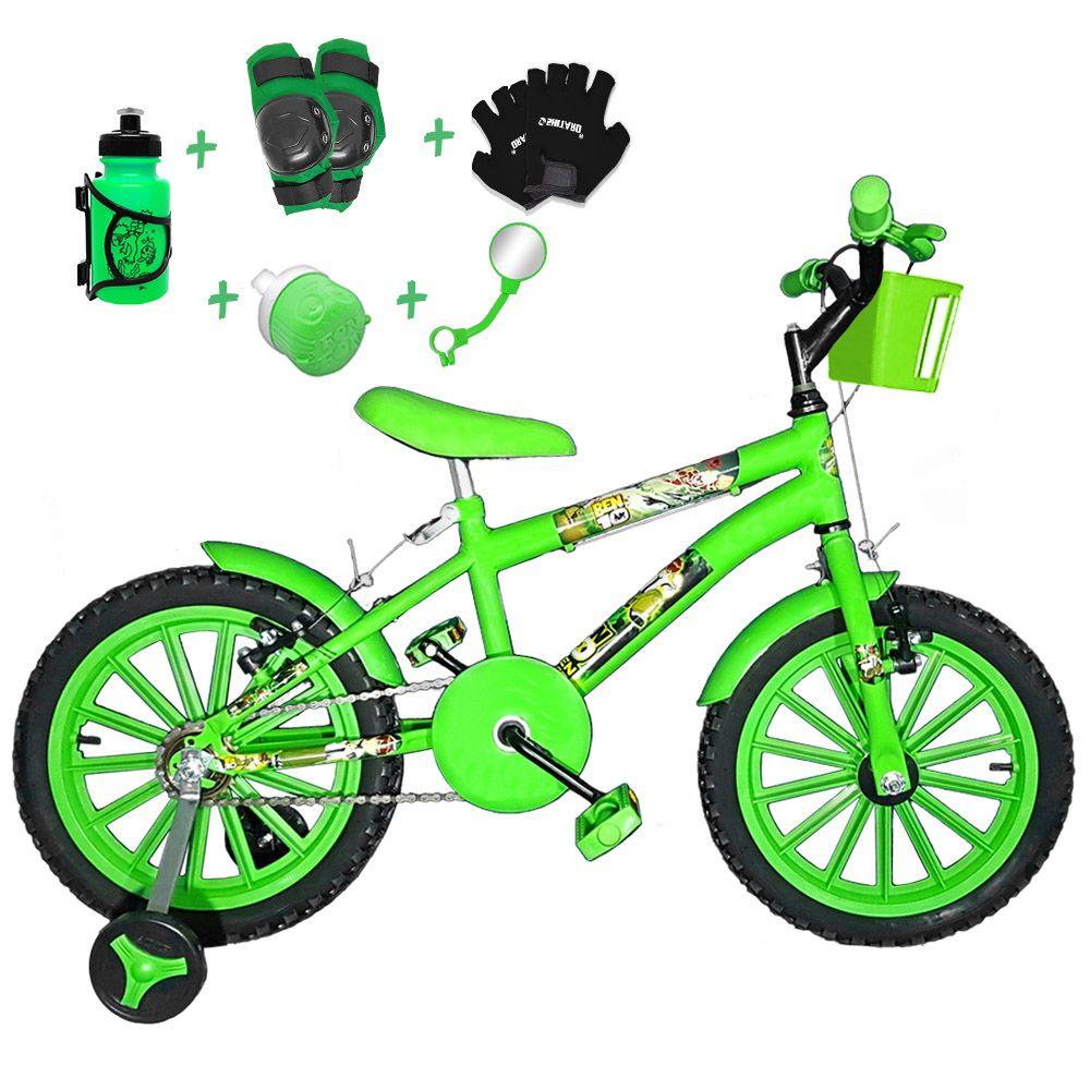 1609c88b8 FOTOS. Bicicleta Infantil Aro 16 Verde Claro Kit Verde C  Acessórios E Kit  Proteção