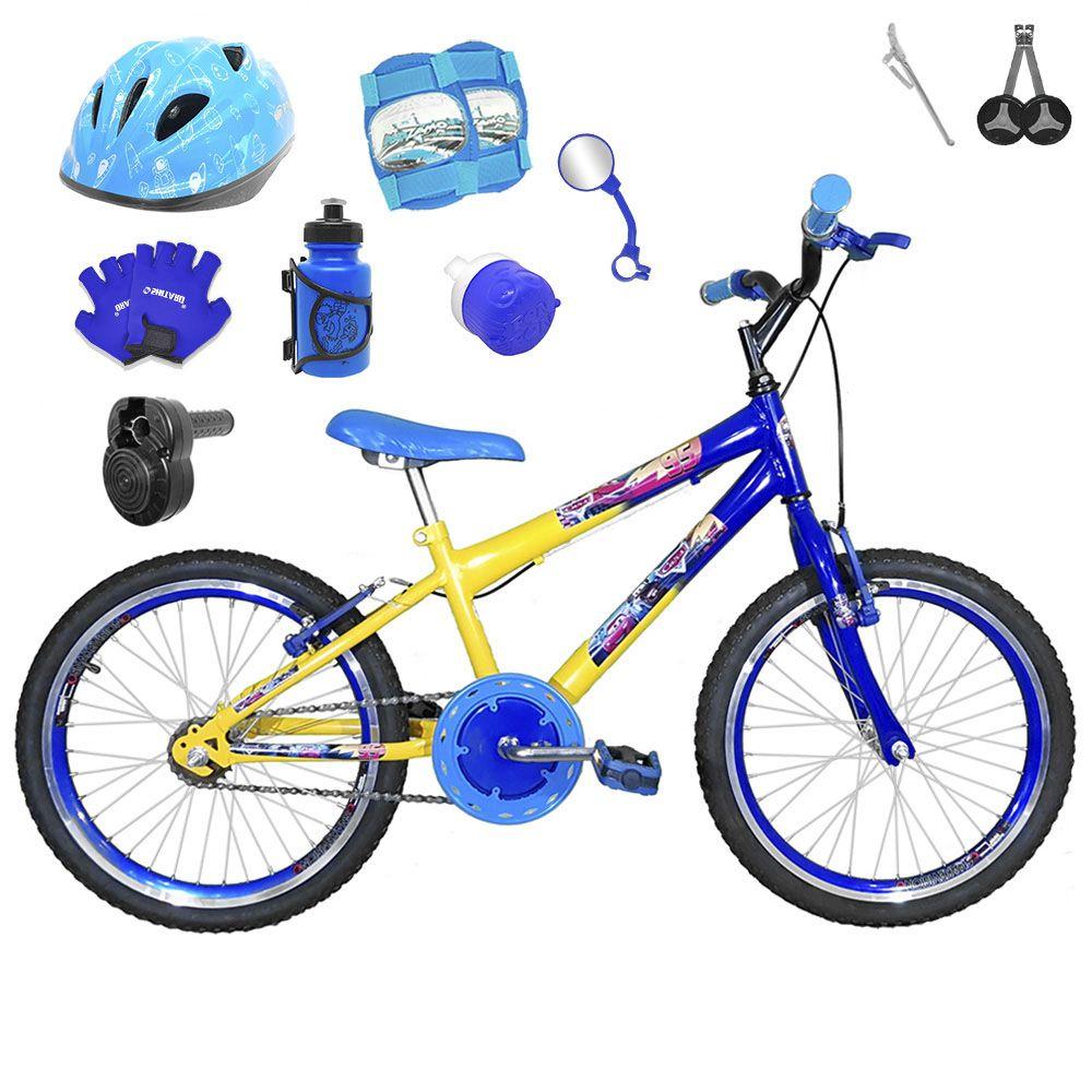 50aba6aad Bicicleta Infantil Aro 20 Amarela Azul Kit E Roda Aero Azul C  Capacete