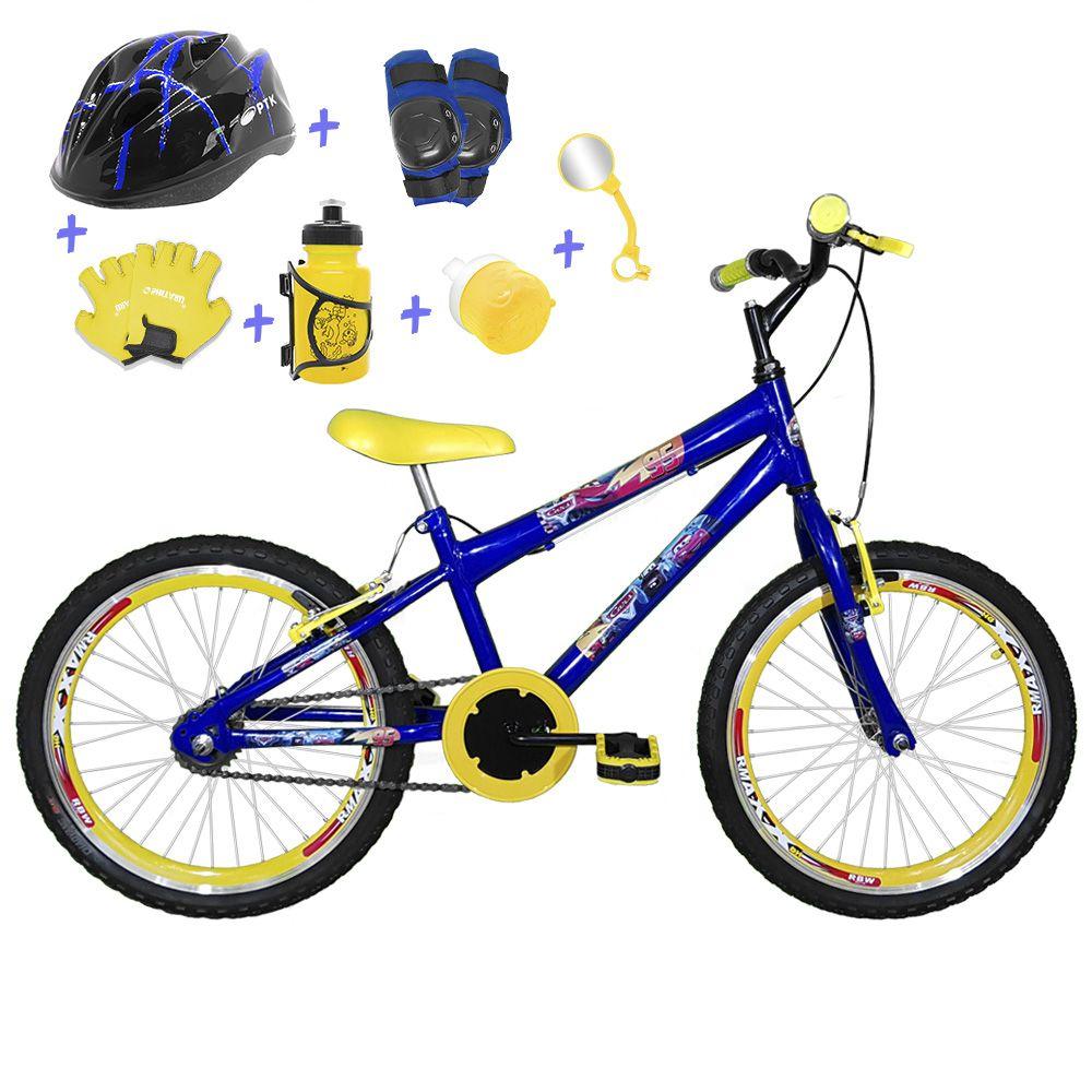 f656221ba Bicicleta Infantil Aro 20 Azul Kit E Roda Aero Amarelo C  Capacete e Kit  Proteção