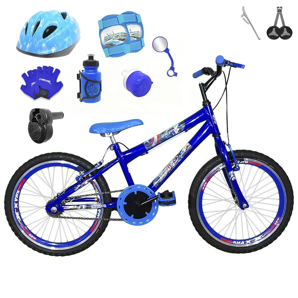 7f10963ae Bicicleta Infantil Aro 20 Azul Kit E Roda Aero Azul C  Capacete