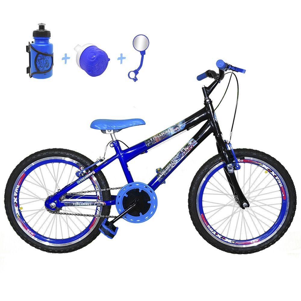 71d1ff540 Bicicleta Infantil Aro 20 Azul Preta Kit E Roda Aero Azul Com Acessórios