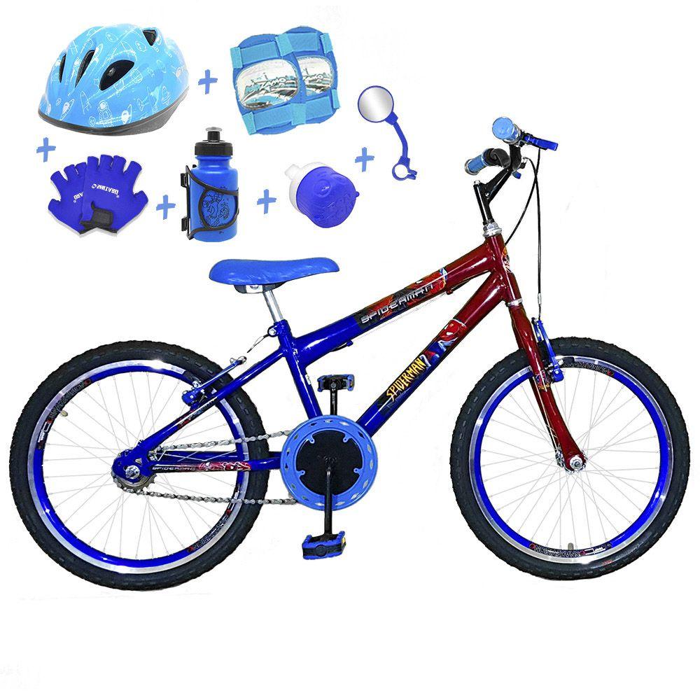 11d867af3 Bicicleta Infantil Aro 20 Azul Vermelha Kit E Roda Aero Azul C  Capacete e  Kit
