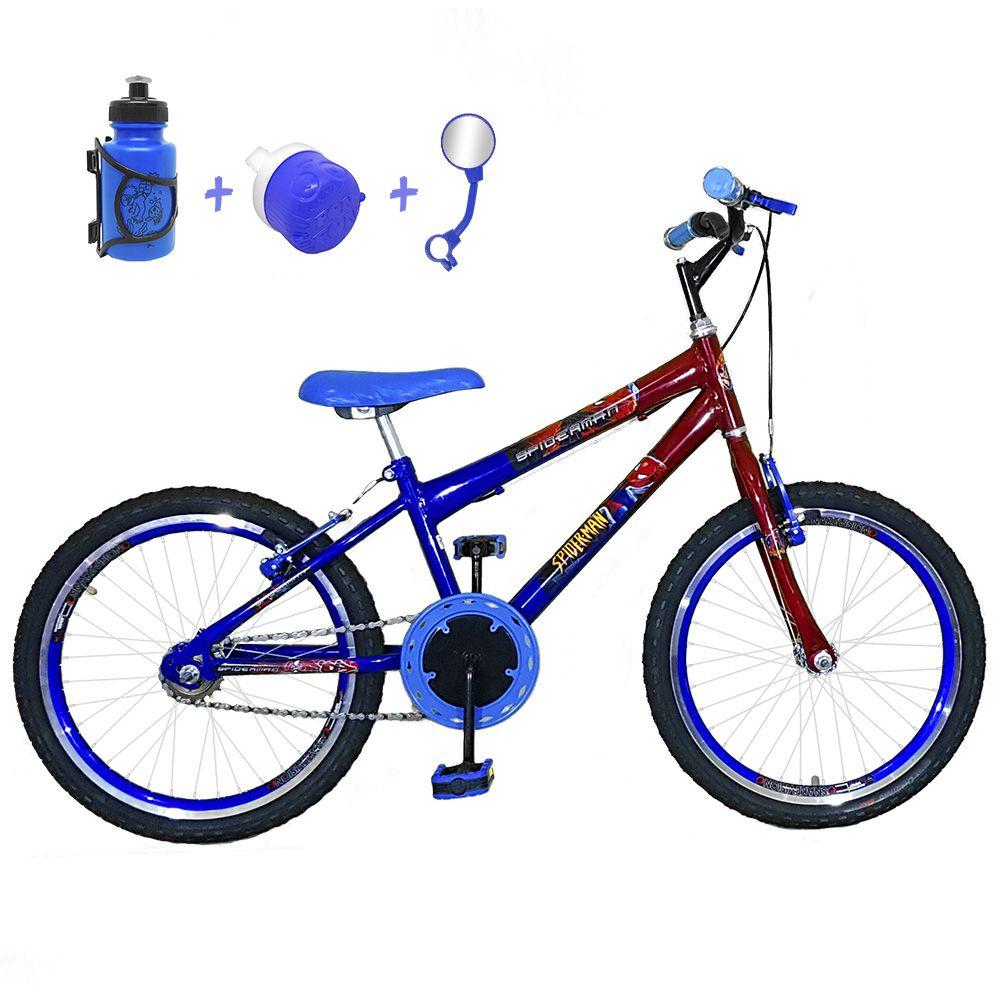 d809913de Bicicleta Infantil Aro 20 Azul Vermelha Kit E Roda Aero Azul Com Acessórios