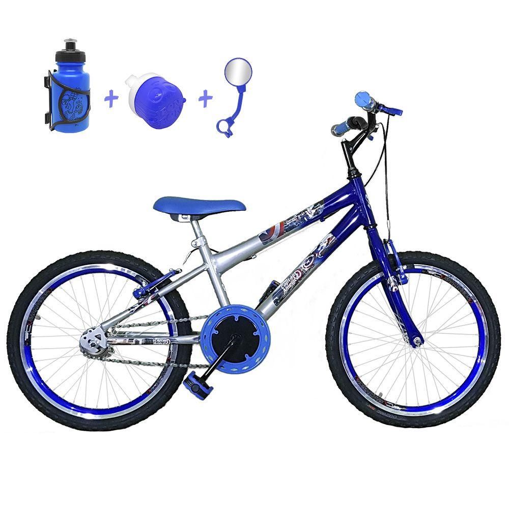 691d28fb4 Bicicleta Infantil Aro 20 Prata Azul Kit E Roda Aero Azul Com Acessórios