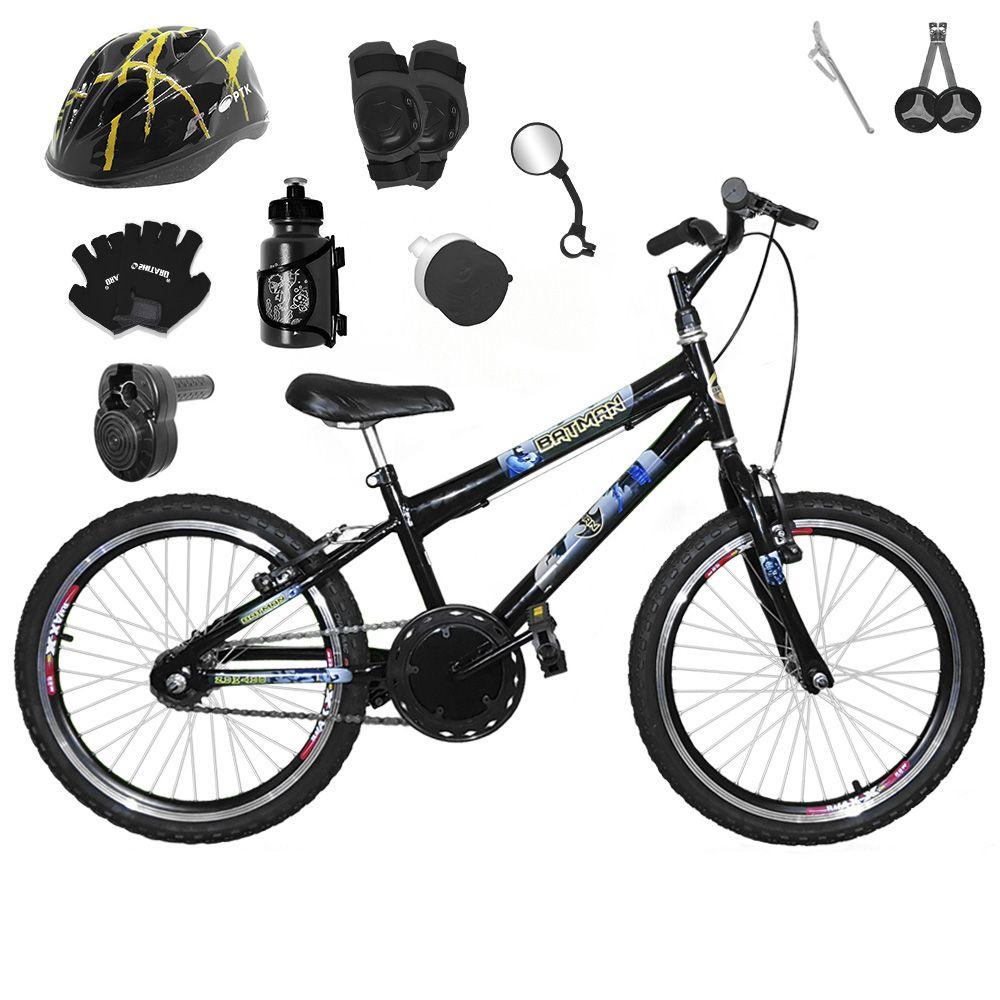 6d14ffcc1 Bicicleta Infantil Aro 20 Preta Kit E Roda Aero Preta C  Capacete ...