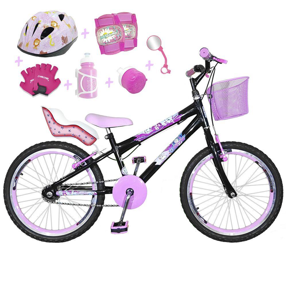 14b2ca36b Bicicleta Infantil Aro 20 Preta Kit E Roda Aero Rosa Bebê C  Cadeirinha de  Boneca