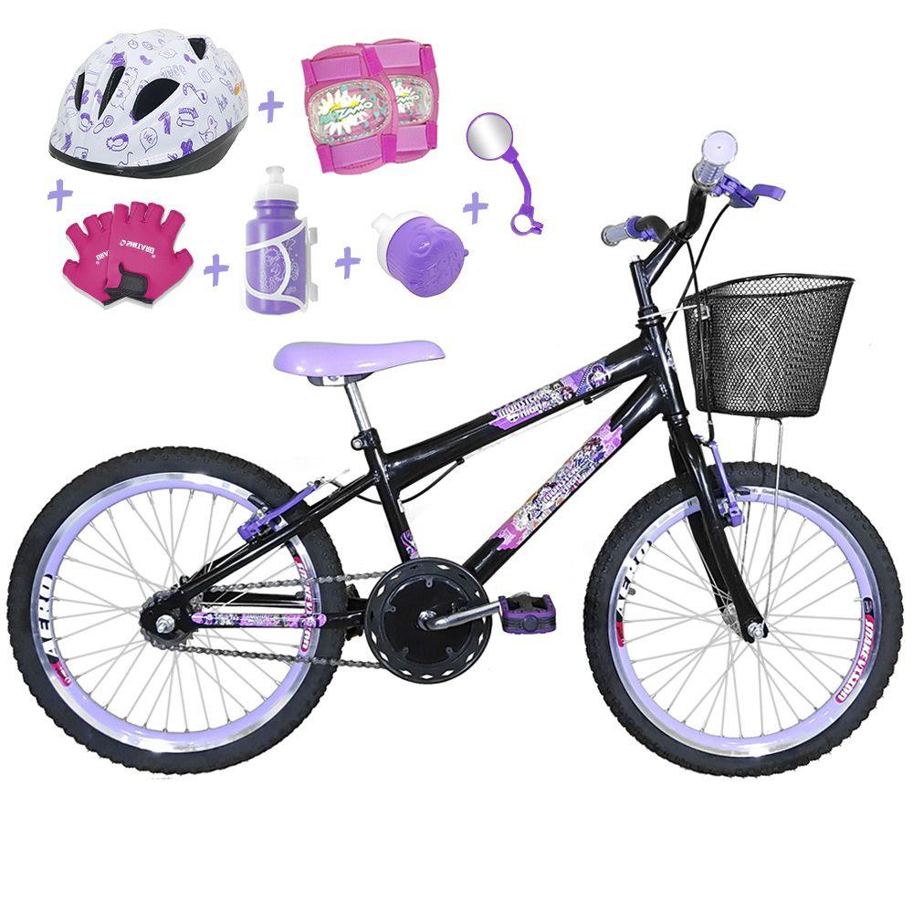 49bea4aa9 Bicicleta Infantil Aro 20 Preta Kit E Roda Aero Roxa C  Capacete E Kit  Proteção