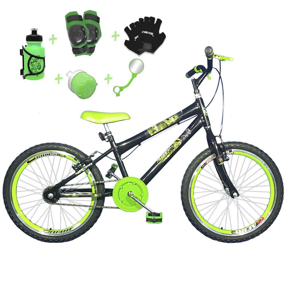 88991c6b5 Bicicleta Infantil Aro 20 Preta Kit E Roda Aero Verde C  Acessórios e Kit  Proteção
