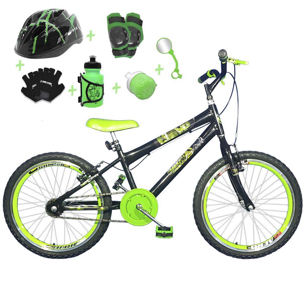 f42f5a62e Bicicleta Infantil Aro 20 Preta Kit E Roda Aero Verde C  Capacete e Kit  Proteção