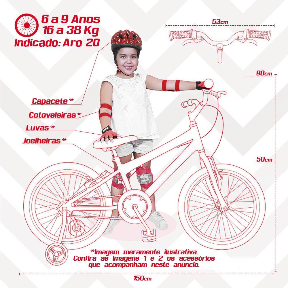 19a17547c ... Bicicleta Infantil Aro 20 Preta Kit E Roda Aero Verde C  Capacete e Kit  Proteção